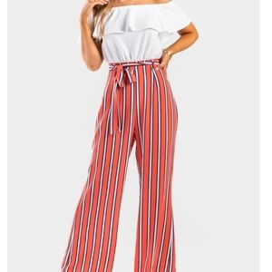 Coral off the shoulder jumpsuit with belte…